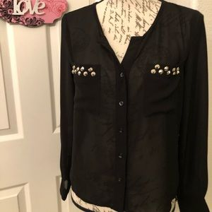 LONG SLEEVE BUTTON UP SHEER BLOUSE SIZE S